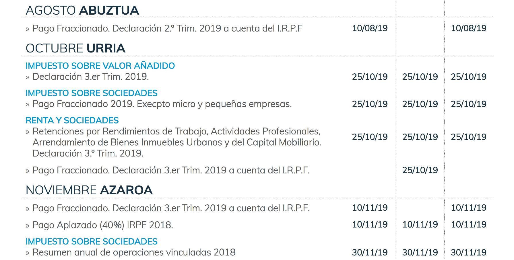 Calendario Laboral Gipuzkoa 2019.Calendario Fiscal Segundo Semestre Del 2019 Sayma