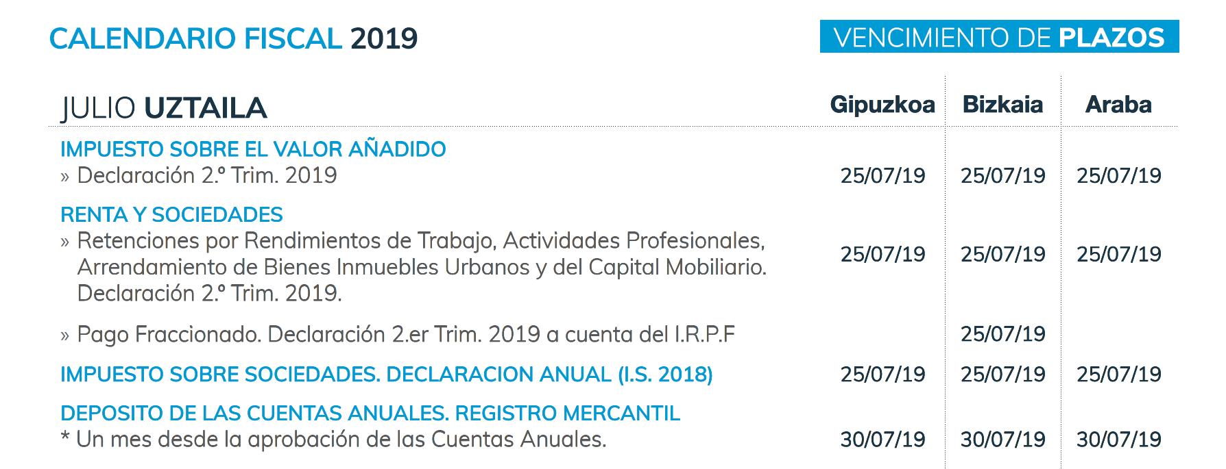 Calendario Laboral Donostia 2019.Calendario Fiscal Segundo Semestre Del 2019 Sayma