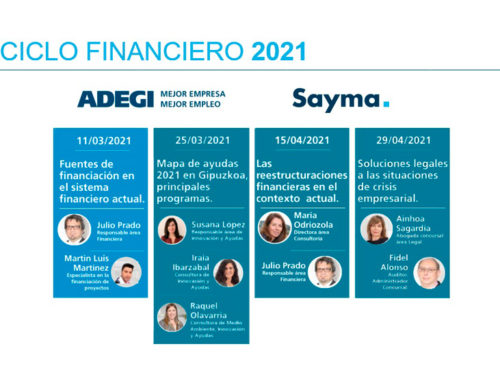 Ciclo Financiero 2021 ADEGI: Mapa de ayudas 2021 en Gipuzkoa, principales programas.
